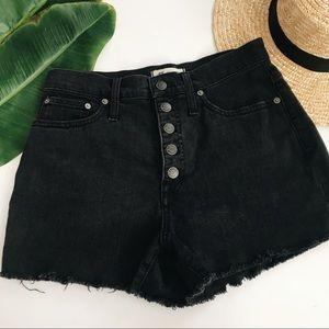 Madewell Berkeley Black Button Fly Denim Shorts